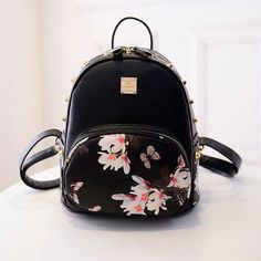 2016 Hot Sale Women Backpack Fashion Causal Floral Printing PU Leather Backpacks For Girls,mochila Preppy style school bags Leather Backpacks For Girls, Cute Backpacks, Girl Backpacks, Studded Backpack, Satchel Backpack, Black Backpack, Small Backpack, Mini Backpack Purse