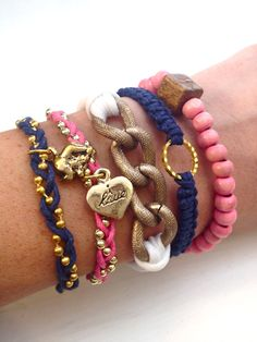 Prepster Stacked Bracelet Set in Pink, Navy and White. $42.00, via Etsy.