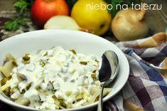 Śledzie ze śmietaną - niebo na talerzu Salad Dressing, Potato Salad, Cabbage, Salads, Potatoes, Vegetables, Ethnic Recipes, Dressings, Food