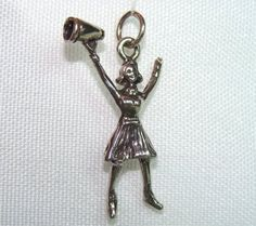 CHEERLEADER with Megaphone in STERLING You can buy this in my Etsy store by CharmAndChain, $12.50