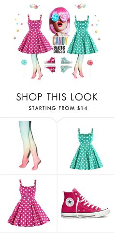 Lollipop Candy Skater Dress by modern-grease on Polyvore featuring Converse and Betsey Johnson
