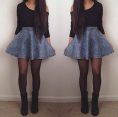 Denim Skater Skirt in Blue - New Arrivals - Retro, Indie and ...