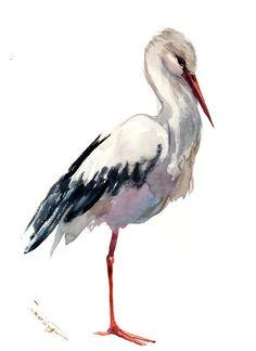 White Stork Original watercolor painting bird lover art birds stork painting by ORIGINALONLY on Etsy Watercolor Bird, Watercolor Paintings, Bird Drawings, Lovers Art, Pet Birds, Creative Art, Photo Art, Giclee Print, Illustration Art