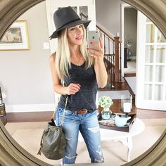 Today's #ootd! Fall Panama hats bucket bags and distressed boyfriend jeans are always a fall staple | This bag is showing up black in my link but don't worry you can totally purchase this exact colour here: www.liketk.it/1JCK1 #liketkit @liketoknow.it by sincerelymissash
