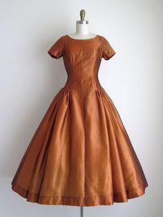 1950's Bronze Silk Dress. Great color!
