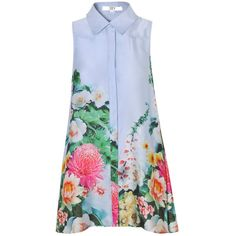 True Decadence Sleeveless Floral Border Shirt Dress, Sky Blue ($15) ❤ liked on Polyvore featuring dresses, tops, vestidos, floral maxi dress, maxi shirt dress, sleeveless shirt dress, shirt dress and sleeved maxi dress