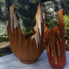 Cedar Key Plant Ware Haute Couture! Find us on facebook and LIKE our page. We take the time to choose them, we feed them, we water them and we talk to them. So why not dress them up with Cedar Key Plant Ware Haute Couture! #art #cedar key #faraway inn #planters
