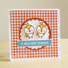 Red and White checkered,  I never get tired of this; STAMPARADISE: Mini Thank You Cards