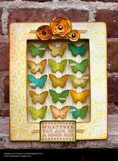 Shadow box ... made entirely of cardboard pieces. Die cut butterflies or birds or stockings and ink. Links to details about how it was made.
