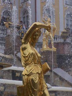 Peterhof Palace Statue on the Grand Cascade Fountain Russia