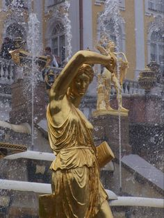 Peterhof Palace Statue on the Grand Cascade Fountain Russia