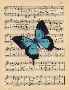 Free freebie printable sheet music with butterfly Images Vintage, Photo Vintage, Vintage Cards, Vintage Paper, Sheet Music Art, Music Paper, Paper Art, Butterfly Cards, Butterfly Print