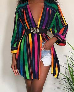 Rainbow color striped print shirt dress women Long sleeve short shirt dress summer 2019 streetwear party casual vestidos, Black / S Sexy Dresses, Fashion Dresses, Fashion Clothes, Short Shirt Dress, Look Fashion, Womens Fashion, Fashion Trends, Fashion Casual, Beach Fashion