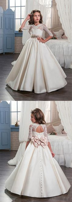 d1e0fd2a1 Glamorous Tulle & Satin Jewel Neckline A-Line Flower Girl Dresses With Lace  Appliques Baby