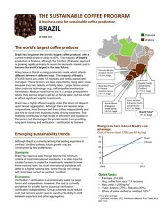 IDH: The Sustainable Coffee Program - Brazil; 2-pager  A business case for sustainable coffee production. Brazil is the largest coffee producer.