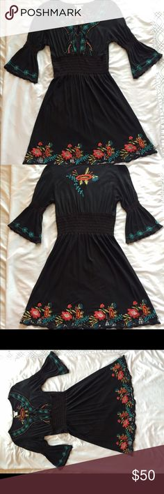 Embroidered Dress Beautiful Embroidered Dress with bead detailing. Excellent condition. Bought at a boutique in the Austin Area. Dresses