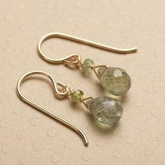 blue tourmaline earrings gemstone drop earrings gold by izuly, $48.00