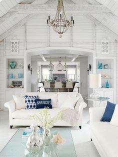 Concrete, Exposed Beams, Cathedral/Arched, Cottage, Built-in bookshelves/cabinets, Chandelier