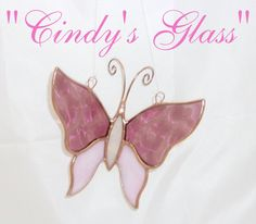 Stained Glass 3-D Butterfly Pink Iridescent by CindysGlass on Etsy