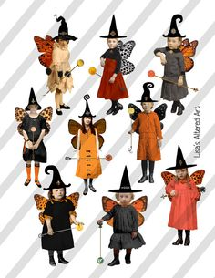 Collage Sheet,Vintage Halloween Sprite Witches with Spheres, 2 Sizes on 2 Sheets AND individual PNG Halloween Diorama, Halloween Art, Happy Halloween, Halloween Decorations, Halloween Stuff, Halloween Labels, Halloween Witches, Halloween Prints, Halloween 2020