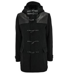 The Kooples Duffle-coat bi matière en laine et cuir d'agneau