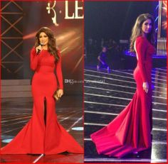 Wholesale Evening Dresses - Buy New 2014 Evening Gowns Red Bateau Long Sleeve Mermaid Sweep Train Sexy Front Slit Open Back Dima Sadek Celebrity Dress in Rami Kadi AE-88, $129.32 | DHgate