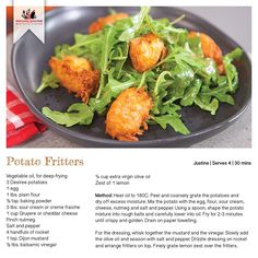From the simplest of meals to more sophisticated recipes and techniques, Everyday Gourmet will inspire you to get more out of your kitchen. Weekly Meal Planner, Weekly Meals, Potato Fritters, Everyday Food, Meals For The Week, Recipe Cards, Potato Recipes, Gourmet Recipes