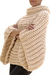 Ravelry: the Crochet Brioche Sweater pattern by Karen Clements. With a wider neck, I would probably live in this; looks so comfy!
