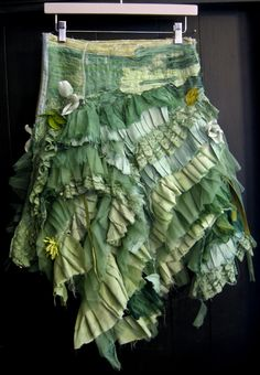 Skirt by gibbous, with all kinds of piecing and stitching and randomness.  Love it.