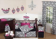 Hot Pink, Black and White Damask Baby Nursery