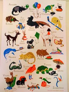 """Eloise Narrigan. Uncommon Alphabet poster. Comes in four colorways. This is the """"schoolhouse"""" version."""