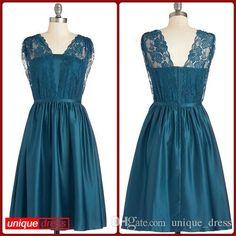 Wholesale Bridesmaid Dress - Buy Short Bridesmaid Dresses A Line V Neck Taffeta Lace Ruffles Party Dress, $82.73 | DHgate