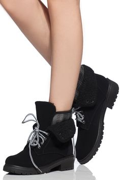 Black Faux Suede Fold Over Lace Up Boots @ Cicihot Boots Catalog:women's winter boots,leather thigh high boots,black platform knee high boots,over the knee boots,Go Go boots,cowgirl boots,gladiator boots,womens dress boots,skirt boots.