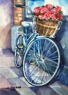 Bicycle with flower busket Rose flowers cityscape ORIGINAL
