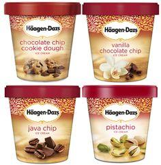 Chocolate Chip Ice Cream, Chocolate Chip Cookie Dough, Ice Cream Flavors List, Haagen Dazs Ice Cream, Ice Cream Packaging, Pistachio Ice Cream, Perfume Packaging, Vanilla Cookies, Ice Ice Baby