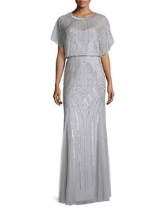 Beaded+Flutter-Sleeve+Chiffon+Gown,+Silver+by+Aidan+Mattox+at+Neiman+Marcus. LAURA T