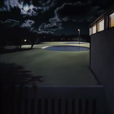 The unreal photorealistic oil paintings of corridors and hospitals by Gina Heyer, South African artist. South African Artists, Pools, Airplane View, Fine Art, Night, Outdoor Decor, Artwork, Painting, Work Of Art