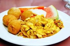 Ackee and Saltfish with Fried Dumplings and Watermelon. Yum!  #jamaica #jamaicanfood #tasty #delicious #food #recipes