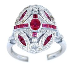 Ruby Antique Ring Solid 18K White Gold and Diamond by BKGjewels