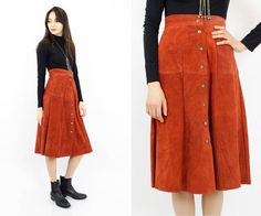 rust suede skirt S  red leather snap 1970s skirt by OmniaVTG, $48.00