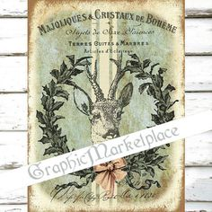 Deer Wreath Christmas Large Image Instant by GraphicMarketplace