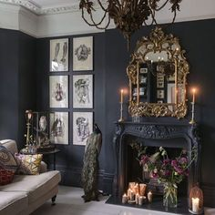 London apartment #gallerywall #antiques #taxidermy #peacock #antiquechandelier #goldmirror #darkwalls #layeringdecor #manteldecor #foundpieces #pinterest #homedecoration #galleryofobjects #antiquity #accessories #collections #foundpieces #adornments #warmmood #darkbeauty #layeringdecor #invitingspaces #thingsilove