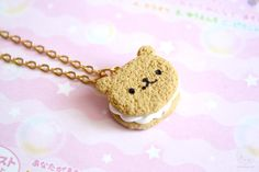 Bear Cookie Necklace Polymer Clay Miniature Jewelry by kukishop
