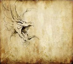 Tattoo art sketch of a dragon over vintage background — Stock Photo ...