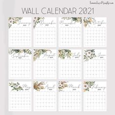 Printable Wall Calendar 2021 Watercolor Calendar 2021 | Etsy Calendar Pictures, Picture Calendar, Feather Wall Art, Birthday Calendar, Christian Wall Art, 2021 Calendar, Floral Wall, African Art, Floral Watercolor