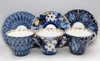 Each cup measures 2 3/4 inches tall, 3 3/4 inches in diameter, saucer is 5 3/4 inches in diameter. Each item is hand painted and has a stamp of the factory on the bottom. Hand wash is recommended