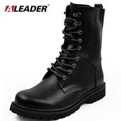 Aleader Waterproof Leather Men Boots Big Size Winter Men Motorcycle Mid-Calf Martin Boots Casual Botas Military Boots Zapatos