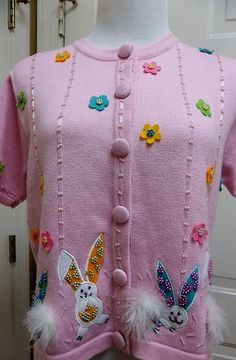 Jack B Quick Berek Nordstrom Pink Easter Bunny Cardigan Sweater P M Cute | eBay $29.99