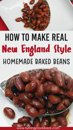 Looking for dried bean recipes? Make homemade New England style baked beans! Start with real ingredients like onion, molasses, and brown sugar. Bake all day to simmer the flavors. And voila! Homemade baked beans better than anything you can buy in a can! Homemade Baked Beans, Baked Bean Recipes, Ham Recipes, Beans In Crockpot, Tailgating Recipes, Dried Beans, Supper Recipes, Healthy Side Dishes