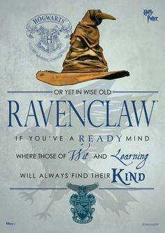 Buy Harry Potter: Sorting Hat Ravenclaw - Wall Art online and save! When the Sorting Hat is in charge, you don't have many choices. Pledge your allegiance to Ravenclaw with this Harry Potter Sorting Hat Ravenclaw Might. Harry Potter World, Fantasia Harry Potter, Harry James Potter, Harry Potter Universal, Harry Potter Wall Art, Harry Potter Houses Traits, Harry Potter Things, Potter House Quiz, Harry Potter Casas